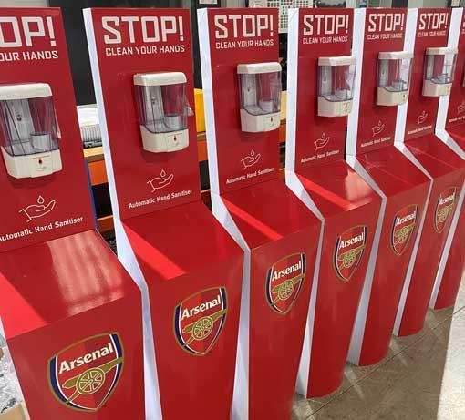 arsenal fc hand sanitiser stations