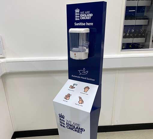 england cricket hand sanitiser station